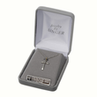 "Sterling Silver 14K Gold Plated Cross Necklace in a Flared and Engraved Style Design on 18"" Chain"