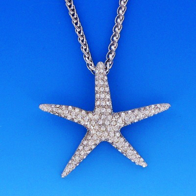 Large starfish pendant with swarovski crystals aloadofball Image collections