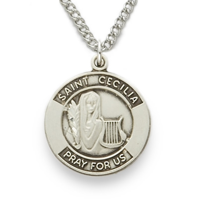 St cecilia patron of musicians sterling silver engraved medal on st cecilia patron of musicians sterling silver engraved medal on 18 chain aloadofball Gallery
