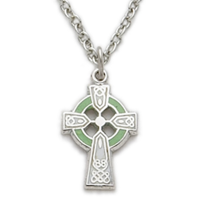 Sterling silver girls celtic cross necklace green enamel on 16 chain aloadofball Image collections