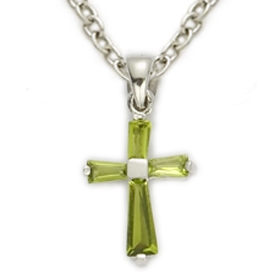 Sterling silver august peridot birthstone baby cross necklace on sterling silver august peridot birthstone baby cross necklace on 13 chain mozeypictures Image collections