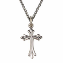 "Sterling Silver Rhodium Finish Cross with a Flared Budded Ends Design on 18"" Chain"