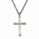 "Sterling Silver  Rhodium Finished Cross Necklace in a Two Tone and Budded Ends Design on 18"" Chain"