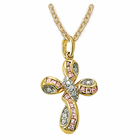 "14K Gold Over Sterling Silver Cross Necklace in a Twisted Pink Enamel Design w/ CZ Stones on 18"" Chain"