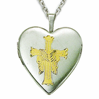 Sterling Silver Risen Cross and Heart Locket Necklace in a 2-Tone Design