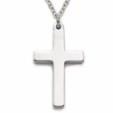"Sterling Silver Rhodium Finished Cross Necklace in a Polished Simple Style Design on 20"" chain"