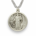 """St. Patrick, Patron of the Irish, Sterling Silver Engraved Medal on 20"""" Chain"""