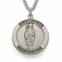 "St. Patrick, Patron Of The Irish, Sterling Silver Engraved Medal on 24"" Chain"