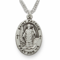 "St. Patrick , Patron of the Irish, Sterling Silver Engraved Medal on 24"" Chain"