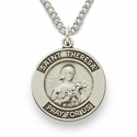 "St. Theresa, Patron of Aviators, Missions, Sterling Silver Engraved Medal on 18"" Chain"