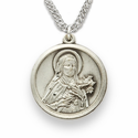 "St. Theresa, Patron of Aviators, Missions, Sterling Silver Engraved Medal on 20"" Chain"