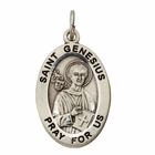 "St. Genesius Sterling Silver Medal on 20"" Chain"