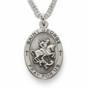 "St. George Patron of Soldiers, Sterling Silver Engraved Medal on 24"" Chain"