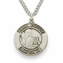 "St. Cecilia, Patron of Musicians, Sterling Silver Engraved Medal on 18"" Chain"