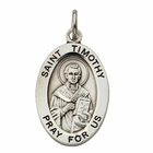"St. Timothy Sterling Silver Medal on 20"" Chain"