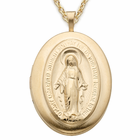 """Sterling Silver 14K Gold Finish Miraculous Locket on 18"""" Gold Chain"""