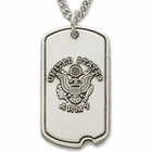 Sterling Silver U.S. Army Dog Tag with Plain Back For Engraving