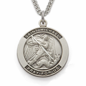"St. Michael, Patron Of Police Officers, Sterling Silver Engraved Medal on 24"" Chain"