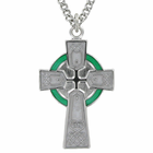 "Sterling Silver Celtic Cross with Green and White Enameling on a 24"" Rhodium Finish Stainless Steel Chain"