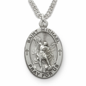 "St. Michael, Patron Saint of Police Officers And Protector of Our Military Forces,  Sterling Silver Engraved Medal on 24"" Chain"