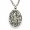 "St. Christopher 1"", Patron of Travelers, Sterling Silver Engraved Medal on 24"" Chain"