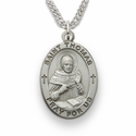 "St. Thomas, Patron of Scholars, Sterling Silver Engraved Medal on 24"" Chain"