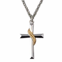 "1""  Sterling Silver Rhodium Finished Cross Necklace with a Gold Sash Design on a 18"" Chain"