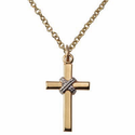 "Sterling Silver 14K Gold Plated Cross Necklace in a 2-Tone and Centered Rope Design on 18"" Chain"