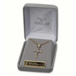 "14K Gold Over Sterling Silver Cross Necklace in a 2-Tone and Swirl Design on 18"" Chain"