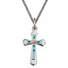"Sterling Silver Cross With Enameled Rose Cross on 18"" Chain"