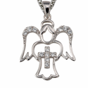 "Sterling Silver Pierced Angel with Crystal CZ Stones and Cross on 18"" Chain"