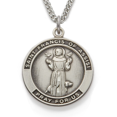 Sterling silver st francis of assisi medal on 24 chain aloadofball Choice Image