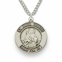 "St. Maria, Patron of Purity, Sterling Silver Engraved Round Medal on 18"" Chain"