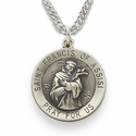 "St. Francis 3/4"", Patron of Animals, Birds, Sterling Silver Engraved Medal on 20"" Chain"