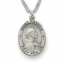 "St. Francis 1"" , Patron of Animals, Sterling Silver Engraved Medal on 24"""
