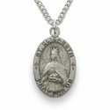 "St. Elizabeth, Patron of Nurses, Sterling Silver Engraved Medal on 18"" Chain"