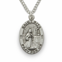 "St. Rita, Patron of Impossible Cases, Sterling Silver Engraved Medal on 18"" Chain"