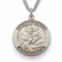 "St. Anthony 7/8"", Patron of Lost Articles, Sterling Silver Engraved Medal on 24"" Chain"