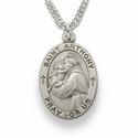 "St. Anthony 1"" , Patron of Lost Articles, Sterling Silver Engraved Medal on 24"" Chain"