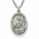 "St. Gerard 1"", Patron of Expectant Mothers, Sterling Silver Engraved Medal on 24"" Chain"