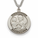 "St. Joseph , Patron Of Carpenters, Sterling Silver Engraved Medal on 24"" Chain"
