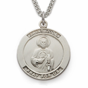 "St. Jude , Patron Of Hopeless Causes, Sterling Silver Engraved Medal on 24"" Chain"