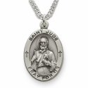 "St. Jude, Patron of Hopeless Causes, Sterling Silver Engraved Medal on 24"" Chain"