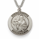 "St. Matthew , Patron Of Accountants and  Bankers,  Sterling Silver Engraved Medal on 24"" Chain"