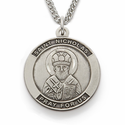 "St. Nicholas , Patron Of Children, Sterling Silver Engraved Medal on 24"" Chain"