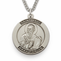 "St. Paul, Patron Of Authors, Sterling Silver Engraved Medal on 24"" Chain"