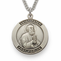 "St. Peter, Patron of Butchers, Sterling Silver Engraved Medal on 24"" Chain"