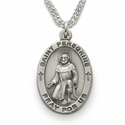 "St. Peregrine, Patron of Cancer, Sterling Silver Engraved Medal on 24"" Chain"