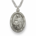 "St. Raphael, Patron of Blindness, Sterling Silver Engraved Medal on 24"" Chain"
