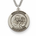 "St. Robert, Patron Of Canonists, Sterling Silver Engraved Medal on 24"" Chain"